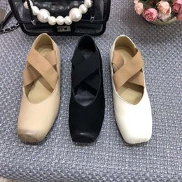 ballet style dresses Canada - Ballet Shoes Comfortable Softsole Single Cross-strapped Flat-soled Shoes Retro Square Head Shallow Mouth Shoes 2019 Autumn New Style