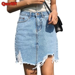 girls rip jeans size Canada - Qoerlin Vintage Ripped Sexy Shorts Mini Jeans Skirts Girls 2018 High Tail Hole Quast Fashion Summer Women Denim Rock Plus Size Y19071501