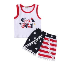 Double Shirt Designs Australia - INS 4th of July Baby Boys Girls 2Pieces Outfits US Flag Designs Sleeveless Tops Tees Kids Girls Ruffled Shorts Blue Red Stripes Sets