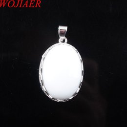 white jade pendant silver Australia - WOJIAER Natural White Jade Gem Stone Oval Pendants Bead Silver Necklaces&Pendant for Women Men Jewelry DN3327
