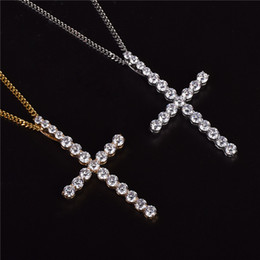 $enCountryForm.capitalKeyWord NZ - Micro Pave Iced Out Cubic Zircon Big CZ Cross Pendants Necklace Jewelry Rope or Cuban Chain