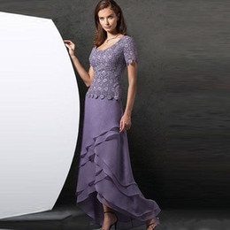 Mother Asymmetrical Dress NZ - Lavender High Low Mother Of The Bride Dresses Scoop Neck Wedding Guest Dress With Short Sleeves A-Line Tiered Plus Size Formal Gowns