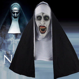 China The Nun Horror Mask Halloween Cosplay Scary Latex Masks With Headscarf Full Face Helmet Party Props Drop Shipping cheap scary cosplay suppliers