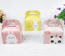 Cupcake Muffins Cake Australia - free shipping Cartoon Rabbit Handle Single Cupcake Muffin Packaging Paper Box Party Gift Boxes For Wedding Birthday Cake Box