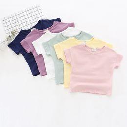 Girls Purple Shirt Australia - 2019 Summer Girls Cotton Short-sleeved T-shirt Children Simple White T-shirt Baby Boys All Matched Lovely Shirts Tops Baby Tees