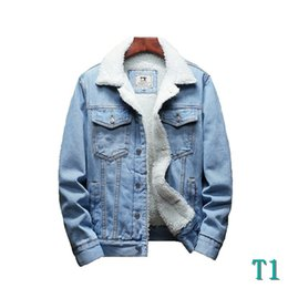 light blue wool winter coat Australia - Men Light Blue Winter Jean Jackets Outerwear Warm Denim Coats New Men Large Size Wool Liner Thicker Winter Denim Jackets Size6XLT1