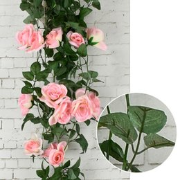 Ivy for weddIng decoratIons online shopping - 100CM Silk Roses Ivy Vine with Green Leaves For Home Wedding Decoration Fake leaf diy Hanging Garland Artificial Flowers