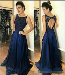 Cheap training jaCkets online shopping - Navy Blue Formal Dress Prom Dresses Scoop Open Back Beading Crystal Draped A line Evening Gowns Cheap Prom Party Dress Long Pageant