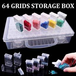 Ingrosso Nuovo acrilico trasparente 64 Grid Jewelry Drill Storage Box Diamante Ricamo Diamante Pittura perline con grande scatola