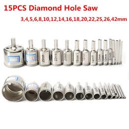 Diamond Hole Saw Bits Australia - 15pcs 3-42mmDiamond Coated Core Hole Saw Drill Bit Rotary Tool Marble Glass Diamond Hole Saws Set