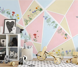 Bedroom Stereo Australia - Photo Wallpaper 3D Stereo Simple nordic fashion abstract geometric flower Mural Living Room Bedroom Backdrop Wall 3D Mural Wall Papers
