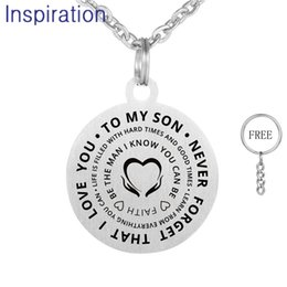 Laser Engraved Pendants Australia - TO MY SON TO MY DAUGHTER NEVER FORGET THAT I LOVE YOU Laser Engraved Stainless Steel Pendant Necklace 55cm Chain Necklace