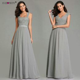 Pretty Backless Prom Dresses Australia - Grey Prom Dresses Long Ever Pretty Ez07704 Women's 2019 A-line Chiffon Lace Appliques Backless Sleeveless Sweetheart Party Gowns J190613
