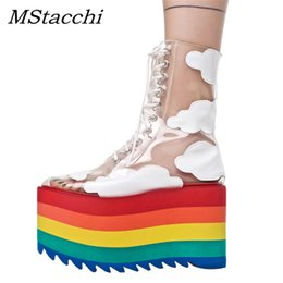 rainbow boots shoes NZ - MStacchi Rainbow Platform Shoes Woman PVC Transparent Lace-Up Thick High Heels Ankle Boots Ladies Height Increasing Party Shoes