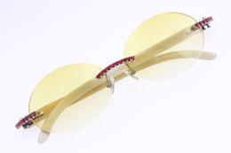 $enCountryForm.capitalKeyWord Australia - New Good Quality Glasses Vintage White Genuine Natural 3524012 Rimless Sunglasses Round Vintage Unisex designer High end Red Diamond Glasses
