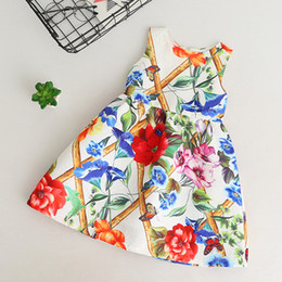 Flowers clothing online shopping - Retail baby girls dress flower printed sleeveless cotton dress kids party skirt evening dresses children boutique ocassion clothing