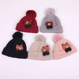 ae493e049a6 2019 new free shipping Korean version of the bear children s wool hat Autumn  and winter men and women 0-2 years old baby