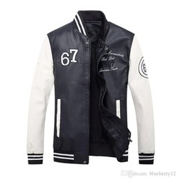 Jackets Embroidery Long Australia - Fashion Mens Leather Jacket Letter Embroidery Slim Long Sleeve Baseball Jacket 3 Colors Panalled Casual Coats For Male Vogue