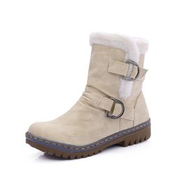 leather plaid boots UK - Winter warm fur women's boots casual plush warm buckle snow boots solid colorsnow boots large.