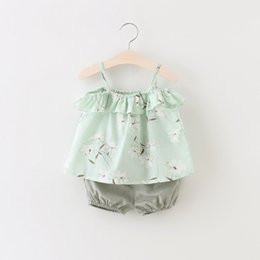$enCountryForm.capitalKeyWord Canada - Girls Floral Ruffle Braces Tops+Pants Outfits Summer 2018 Kids Boutique Clothing Korean 1-4T Baby Girls Sleeveless Braces 2 Pieces Set