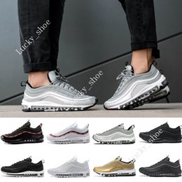 Cheap 97 SILVER BULLET OG QS Metallic Gold Triple Black Best quality WHITE  3M Running trainers outdoor sneakers sports Shoes Free shipping 0388e1da1a0e