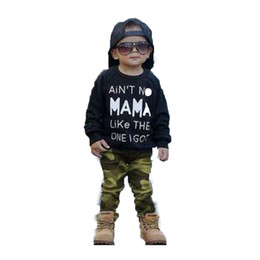 winter t shirts long neck UK - Kids Suit Printed Long Sleeve Top T-Shirt Camouflage Pants Childrens Suit Male Long Sleeve Trousers Round Neck 4