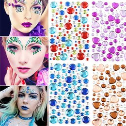 $enCountryForm.capitalKeyWord Australia - Hot Sale Face Gems Adhesive Rhinestone Jewels Stickers Festival Fancy Party Body Glitter DIY 3D Crystal Tattoo Stickers