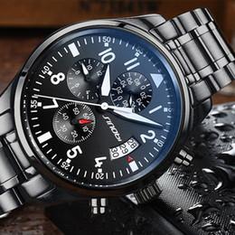 Luxury Quartz Sinobi Wrist Watch Australia - Sinobi Watches Men Waterproof Stainless Steel Luxury Pilot Wrist Watches Chronograph Date Sport Diver Quartz Watch Montre Homme Y19052103