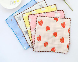 Small Cotton Handkerchief Australia - Cotton towel gauze square baby boys printed saliva towel double gauze thin small handkerchief child washcloths handkerchief