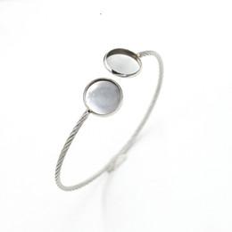 Silver Bracelet Blanks Cuff UK - Adjustable Stainless Steel DIY Cuff Bracelet Bangle Bracelet Blank Base Settings Fit 12mm Glass Cabochon