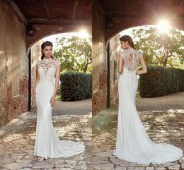 Discount cheap elegant designer dresses - Elegant New Designer 2019 Wedding Dresses Jewel Neck Lace Appliques Cheap Wedding Dress Bridal Gowns Garden Church See T