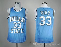 Штат Индиана Сикамор Ларри Берд 33 Blue NCAA College Баскетбол Джерси Throwback Mens Баскетбол Шртс на Распродаже