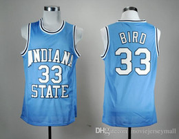 Großhandel Indiana State Sycamores Larry Bird 33 Blauer NCAA-Basketballtrikot Throwback Herren-Basketball-Shrts