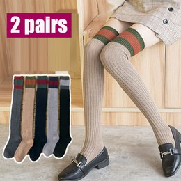 $enCountryForm.capitalKeyWord Australia - Wool knit stockings ladies thick cashmere over the knee socks horizontal strips socks female autumn winter piles of socks