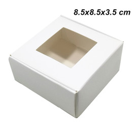 $enCountryForm.capitalKeyWord UK - 8.5x8.5x3.5 cm White Kraft Paperboard Foldable Packing Boxes Card Paper Christmas Event Day Package Box with Clear Window for Soap Chocolate