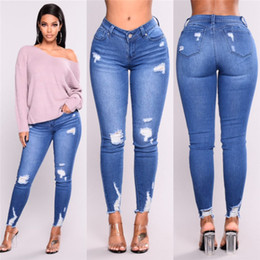 Leggings jeans woman online shopping - Light Luxury Hole Tight Leggings Fashion Casual Womens Jeans Elastic Skinny Pencil Pants Blue Classic Design Womens Clothing