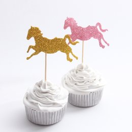 $enCountryForm.capitalKeyWord Australia - Gold Pink Horse Cupcake Topper Theme Cartoon Party Supplies Kids Boy Birthday Party Decorations 10pcs lot