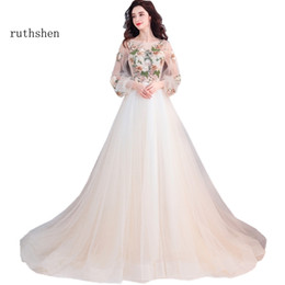 transparent sleeve prom dresses NZ - Ruthshen Fairy Long Prom Dresses 2019 New Light Champagne Illusion Appliques Long Sleeves Transparent Vestidos De Prom Gowns Y19072901