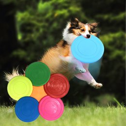 Discount silicone disk - Pet Dog Bite Resistant Frisbee Disk Soft Silicone Flying Disc Puppy Training Toy Funny Round 6 Colours Wholesale