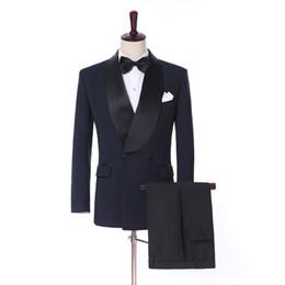 Wholesale double jacket design resale online – Latest Design Side Vent Double Breasted Groom Tuxedos Shawl Lapel Groomsmen Wedding Men Party Suits Jacket Pants Tie W36