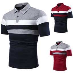 patchwork striped tee NZ - Polos Patchwork Color Designer Mens Tees Casual Short Sleeve Lapel Neck Male Polos Summer Striped Mens