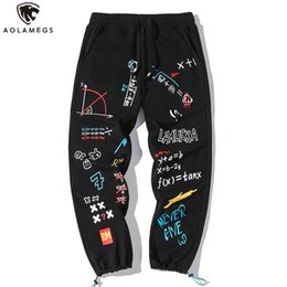 printed sport trousers NZ - Aolamegs Pants Men Hip Hop Cute Letter Print Graffiti Joggers Sweatpants Casual Cozy Loose Sports Track Trousers 4XL Streetwear