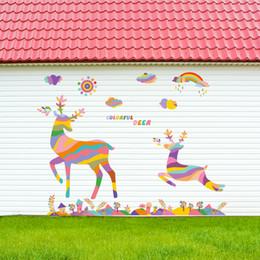 Cartoon Retail Australia - Retail 90*60cm new can remove living room bedroom shop window cartoon animal wall sticker sky colorful fawn