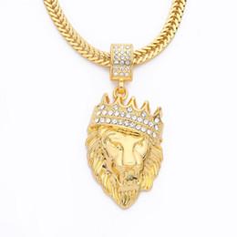 14k Gold Lion Head Pendant Australia - Hiphop Pendant K854 New European and American Diamond Crown Lion Head Hip Hop Necklace Men's Neutral Gold Plated Jewelry Accessories