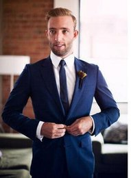 $enCountryForm.capitalKeyWord Australia - Mens Suits Slim Fit 2 Pieces Navy Groomsmen Wedding Tuxedos For Men Notch Lapel Formal Prom Suit (Jacket+Pants) Custom Made