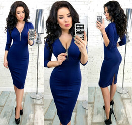 lantern sleeve work dresses Canada - Autumn Winter Women Elegant Dress 2018 New Fashion 3 4 Sleeve Work Business Sheath Bodycon Zipper Red Blue Dress Vestidos Y19041001
