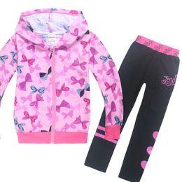 Grey babies pants online shopping - JOJO siwa toddler girl winter clothes for Big kids long sleeve Zipper coat pants little Baby clothing toddler shirts sets T191014