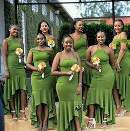 Discount cheap white robes - 2019 African green mermaid Bridesmaid Dresses with spaghetti straps hi-lo chic Wedding Guest Dresses cheap robes de demo