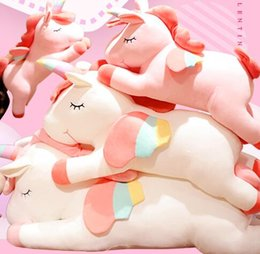 Cartoon sleep girl online shopping - Cute dream rainbow Unicorn doll plush toy Romantic sweetness Gift giving sleeping pillow long pillow doll