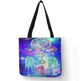 $enCountryForm.capitalKeyWord NZ - Print Handbags For Women 2019 Bohemian Dream Catcher Pattern Linen Shoulder Bag Lady Beach Travel Shopping Boho Chic Totes Bags